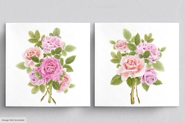 Hermoso ramo de rosas de acuarela