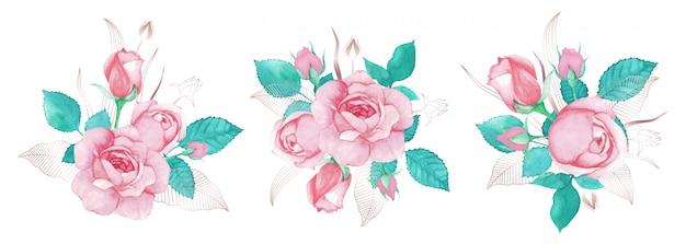 Hermoso ramo de rosas rosadas acuarela pintada con decoración de línea de oro rosa