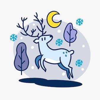 Hermoso reno en la ilustración de la noche de invierno