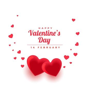 Hermoso saludo del día de san valentín con corazones de amor