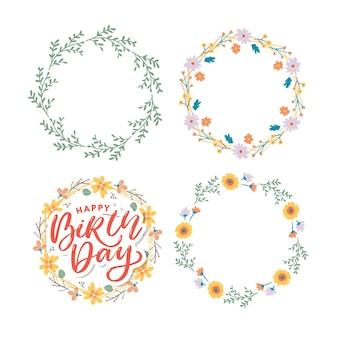 Hermoso saludo de feliz cumpleaños con flores y conjunto de corona floral