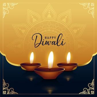 Hermoso saludo feliz diwali dorado