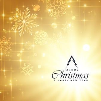 Hermoso saludo de feliz navidad destellos dorados