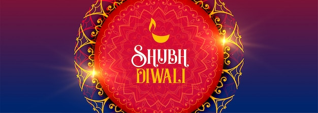 Hermoso shubh diwali colorido festival banner