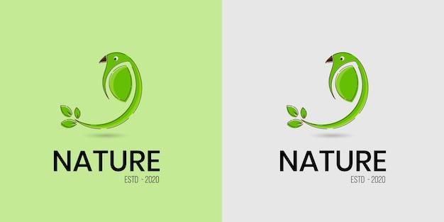 Hermoso y simple logotipo verde de hoja de pájaro para negocios de alimentos y bebidas orgánicos