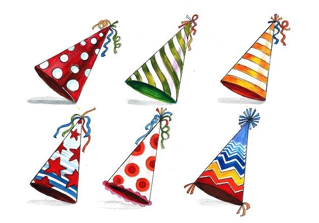 Hermoso sombrero de cumpleaños set diseño de acuarela