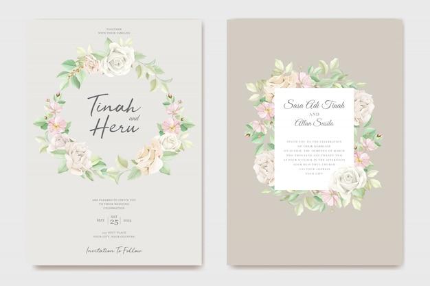Hermoso suave floral y hojas conjunto de tarjeta de invitación de boda