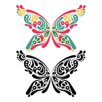 Hermoso tatuaje de mariposa. patrón artístico en forma de mariposa. versión en color y en blanco y negro