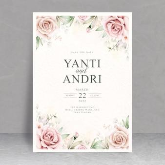 Hermoso tema floral de la tarjeta de boda de la acuarela