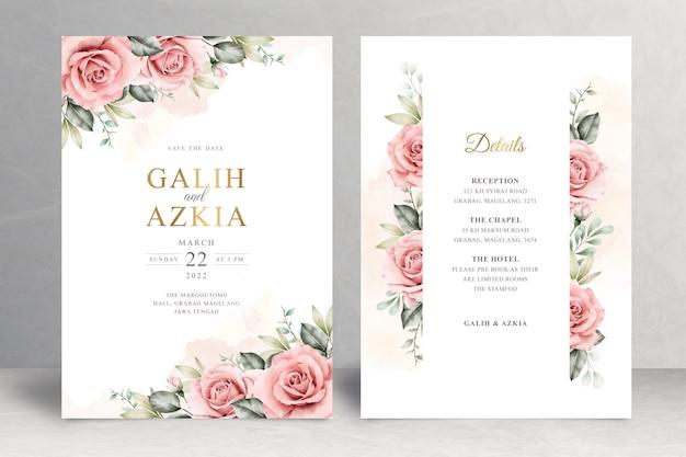 Hermoso tema floral de la tarjeta de boda