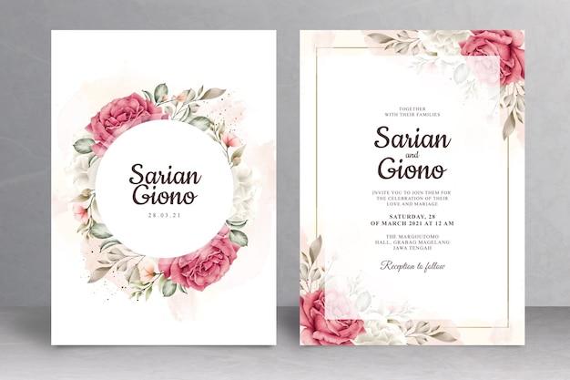 Hermoso tema floral de la tarjeta de invitación de boda