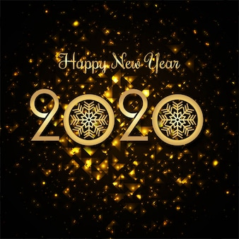 Hermoso texto 2020 plantilla de tarjeta de felicitación del festival de año nuevo