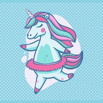 Hermoso unicornio azul claro en una falda de tutú de ballet con los ojos cerrados