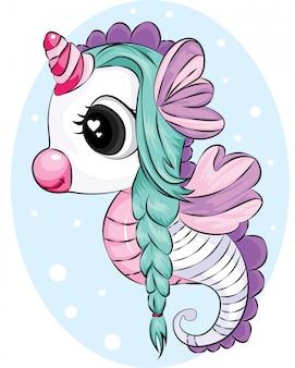 Hermoso unicornio caballito de mar con cabello verde