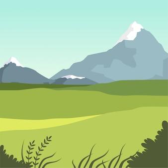 Hermoso valle y montañas, paisaje de verano verde, ilustración de fondo de naturaleza