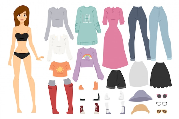 Hermoso vector de dibujos animados de moda chica modelo constructor look de pie