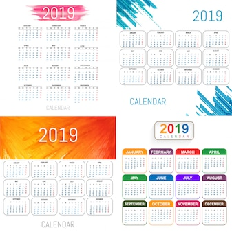 Hermoso vector de diseño conjunto de calendario 2019