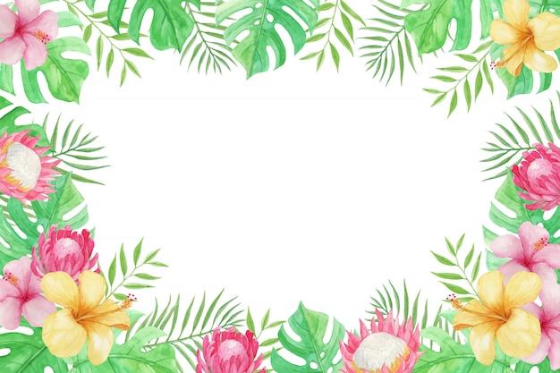 Hermoso verano con flores tropicales, hojas de palma y monstera
