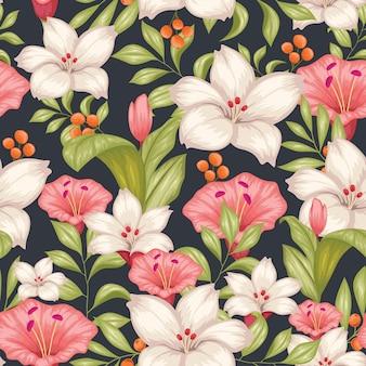 Hermoso vintage floral de patrones sin fisuras