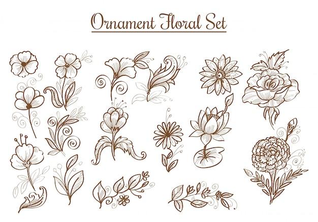 Hermosos adornos dibujados a mano dibujo flor diseño de conjunto