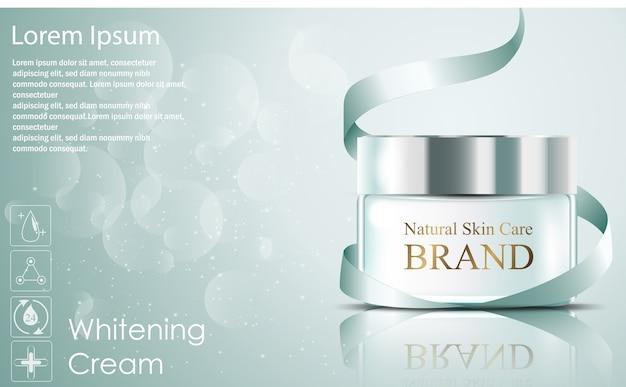 Hermosos anuncios de cosméticos de crema facial hidratante realista