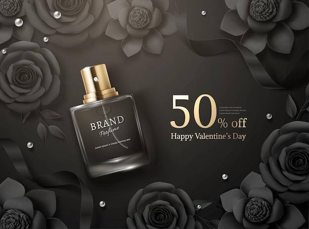 Hermosos anuncios de perfumes con flores de papel en la ilustración 3d