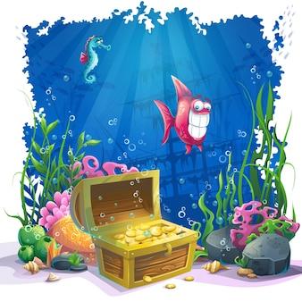 Hermosos arrecifes de coral y coloridos, peces y cofres de oro sobre arena. ilustración de vector de paisaje de mar.