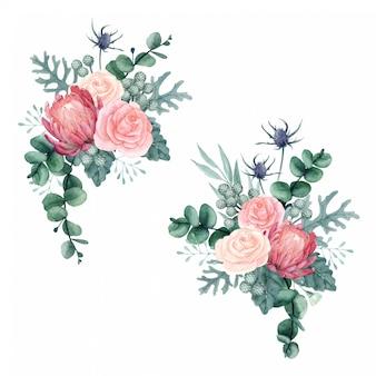 Hermosos arreglos florales de acuarela