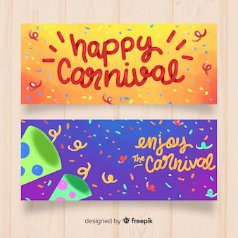 Hermosos banners dibujados a mano de carnaval