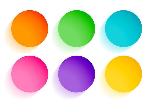 Hermosos círculos coloridos conjunto de seis