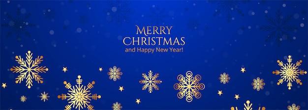 Hermosos copos de nieve de feliz navidad en bandera azul