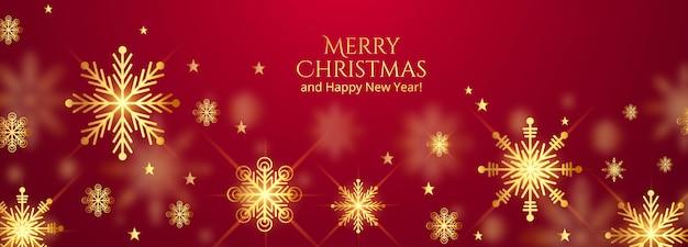 Hermosos copos de nieve de feliz navidad en diseño de banner rojo