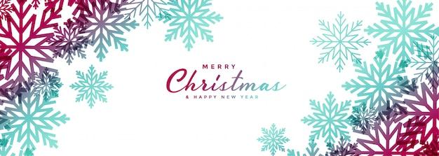 Hermosos copos de nieve de navidad banner ancho blanco