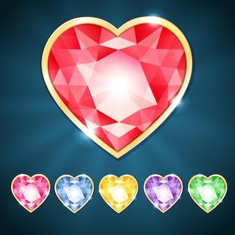 Hermosos corazones de diamantes