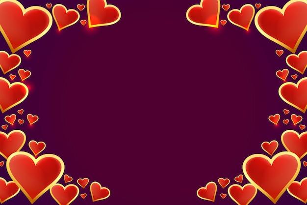 Hermosos corazones marco del día de san valentín