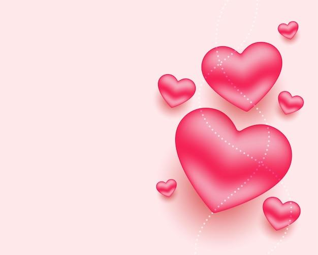Hermosos corazones rojos realistas con espacio de texto
