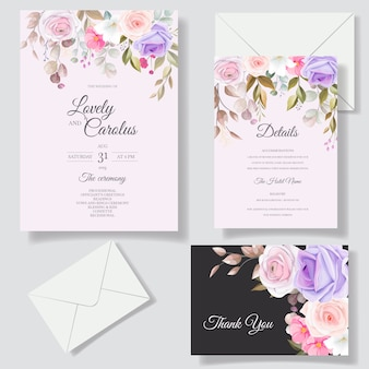Hermosos diseños de plantillas de tarjetas de invitación de flores de rosas