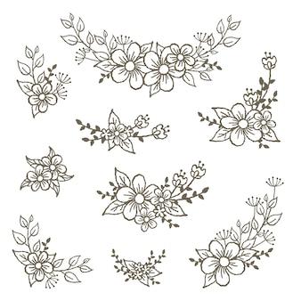 Hermosos elementos decorativos del bouquete floral.