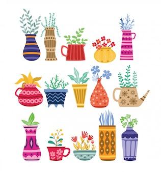 Hermosos elementos de maceta y flor