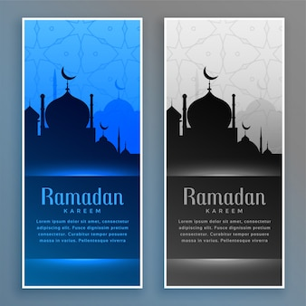 Hermosos estandartes de ramadan con mezquita.
