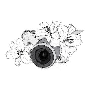Hermosos lirios y una cámara vintage. ilustración.