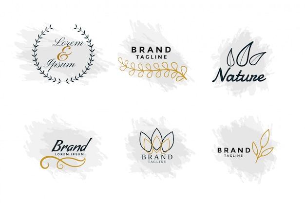 Hermosos logos de naturaleza o colección de monogramas de boda