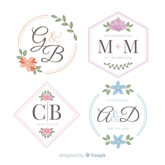 Hermosos logotipos de monograma de boda