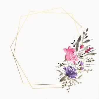 Hermosos marcos de flores de acuarela