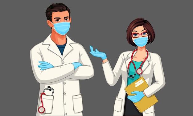 Hermosos médicos masculinos y femeninos jóvenes con máscara y guantes ilustración