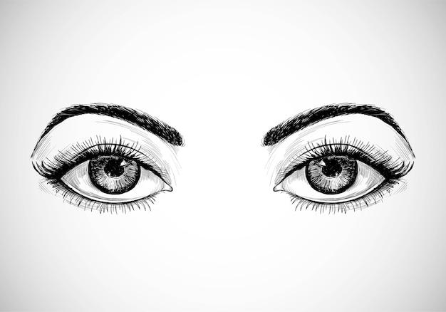 Hermosos ojos de boceto dibujados a mano