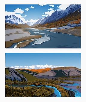 Hermosos paisajes de primavera o invierno con un cielo azul, ríos, bosques, montañas, nubes y picos nevados