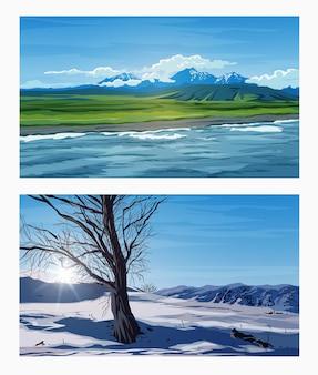 Hermosos paisajes de verano e invierno con un cielo azul, ríos, árboles, bosques, montañas, nubes y picos nevados