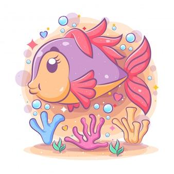 Los hermosos peces disco púrpura nadan cerca de la burbuja azul.