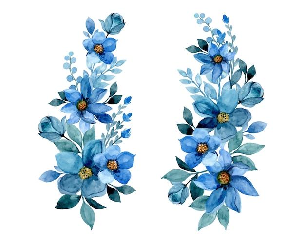 Hermosos ramos de flores con acuarela azul